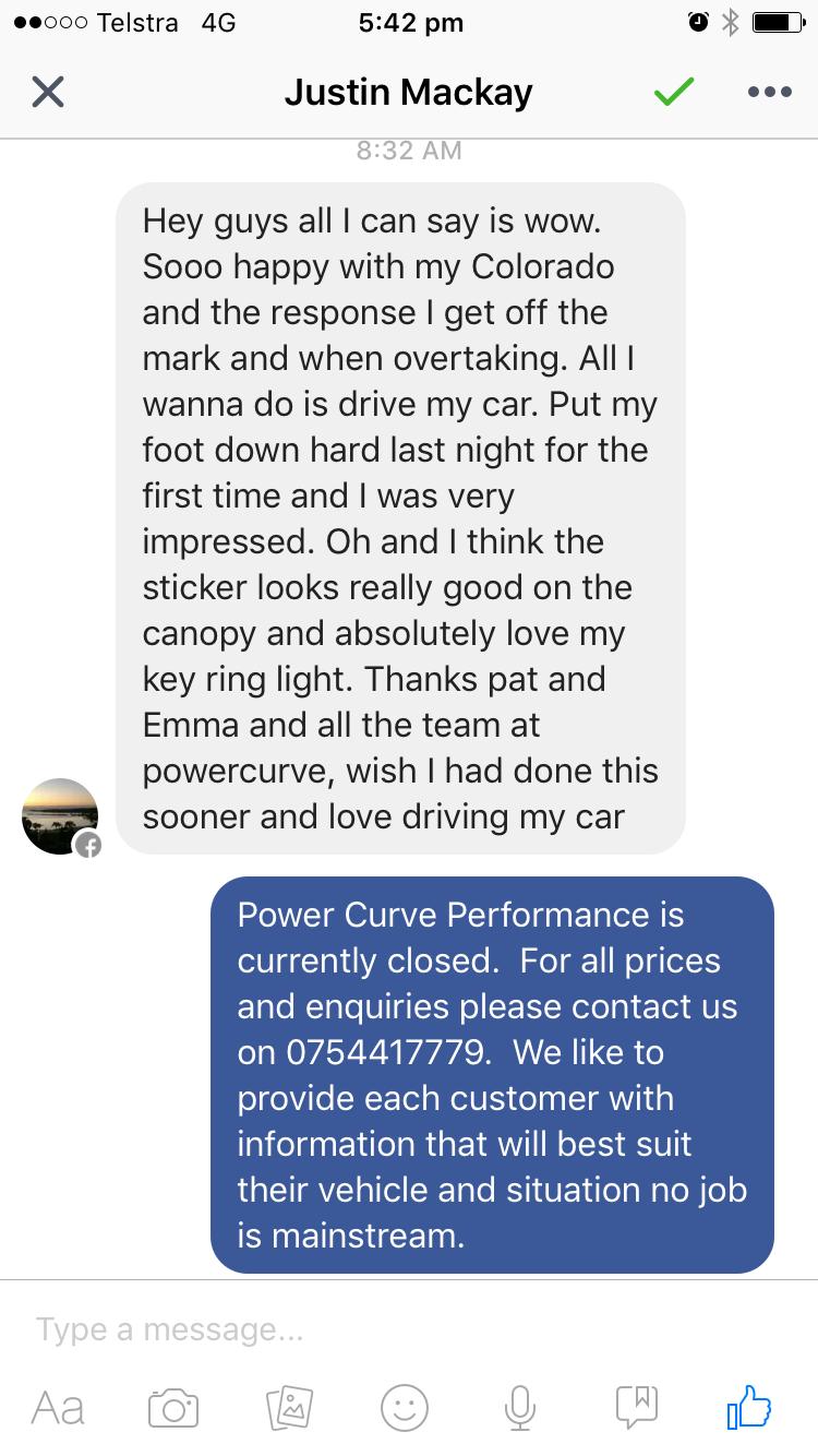 Holden colorado ECU tune, Customer feedback, Power Curve Performance